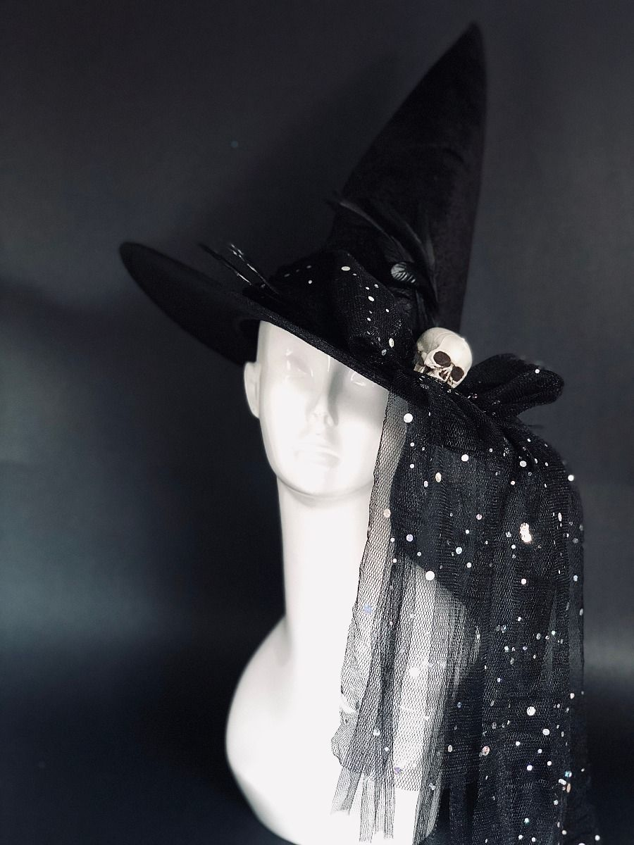 Black Tall Halloween Witch Hat With Skull Bow Veil And Feathers